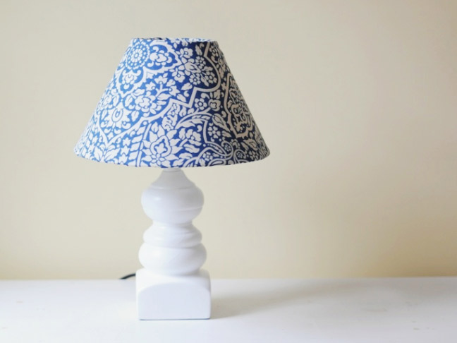 Completed Revamped Lamp Shade On A White And Desk