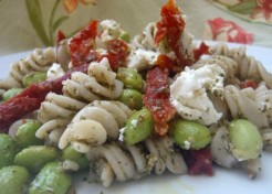 Pasta Salad with Pesto, Edamame, Sun-Dried Tomato, and Goat Cheese Sauce