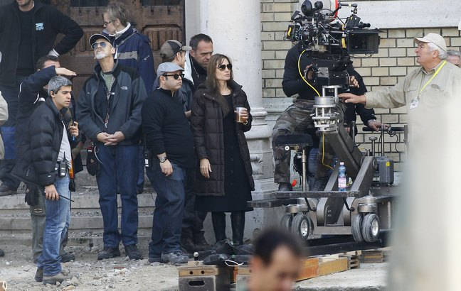 Angelina Jolie, movie set, long brown coat, brown winter jacket, black boots