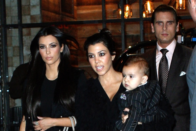 Kourtney Kardashian, black top, Mason Disick, Scott Disick, Kim Kardashian