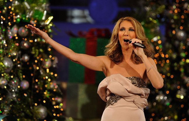 Celine Dion, singing, Christmas special, beige dress