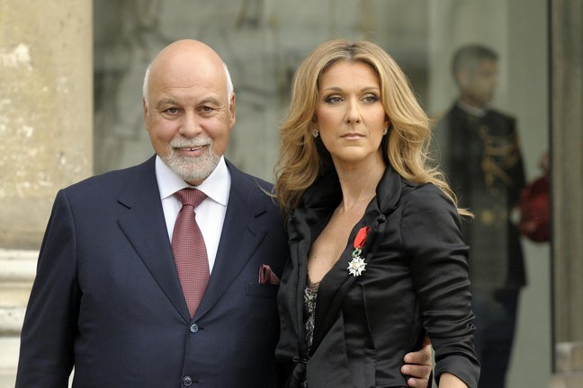 Celine Dion, black jacket, necklace, Rene Angelil