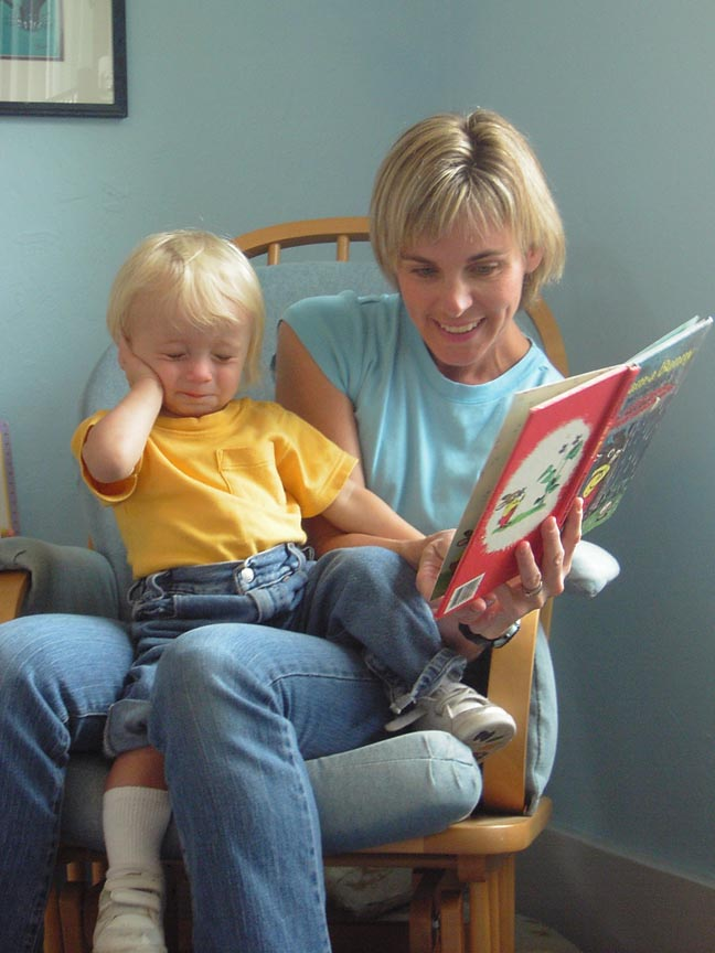 Monta briant reading with her son