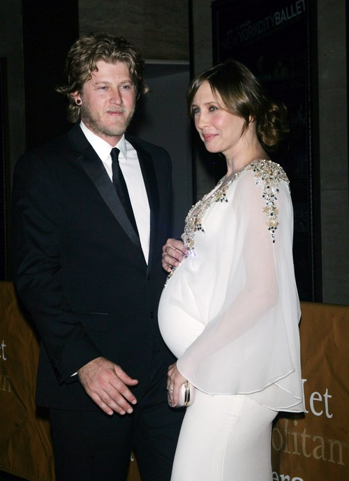 Vera Farmiga, white dress, maternity dress