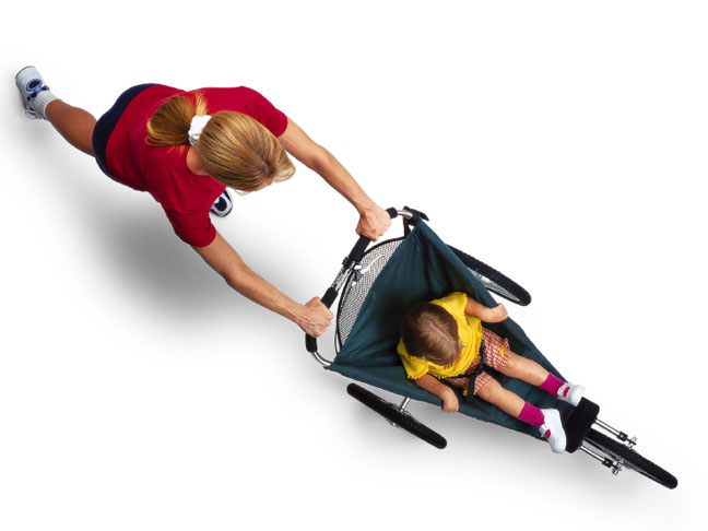 Aerial shot of a mum jogging with a Jogging Stroller
