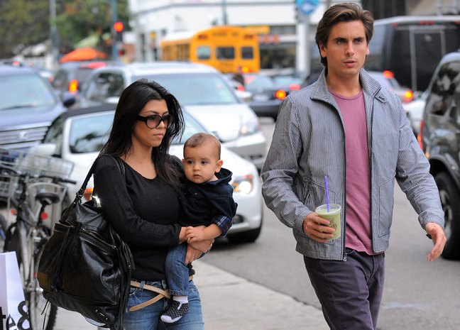 Kourtney Kardashian, jeans, tan belt, black bag, sunglasses, black shirt, Mason Disick, Scott Disick