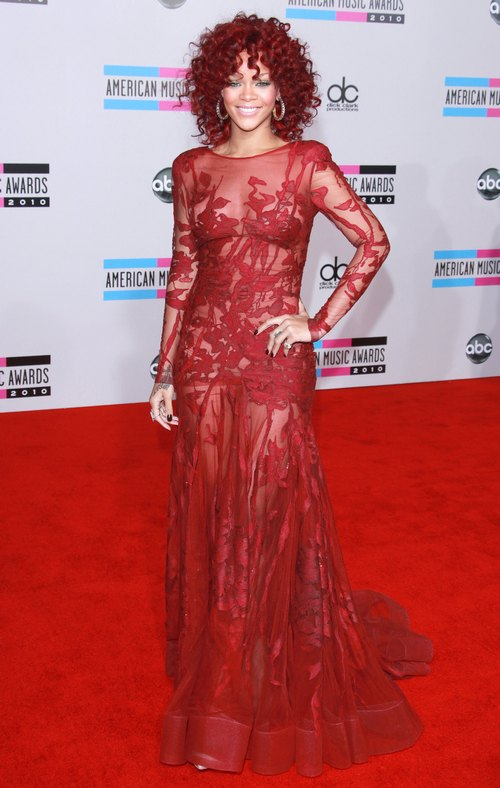 Rihanna in red lace gown at the american music awards