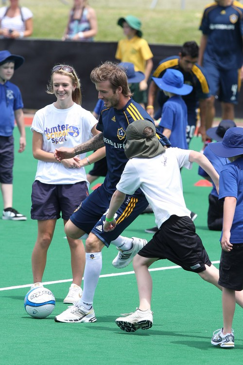 David Beckham, blue shirt, blue shorts, LA Galaxy