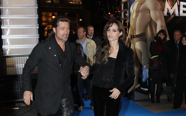 Angelina Jolie, Black pants, velour top, Megamind premiere