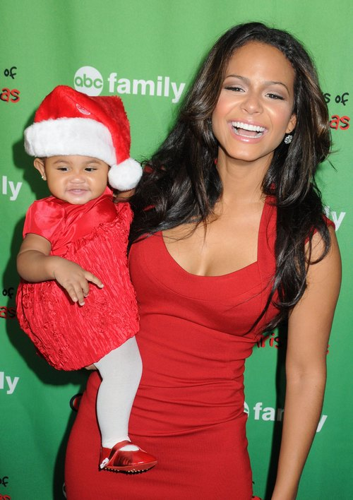 Christina Milian, red dress, red sleeveless dress