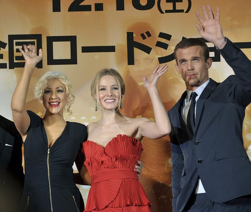 Christina aguilera blue zip front dress, Kristen Bell red dress, Cam Gigandet suit