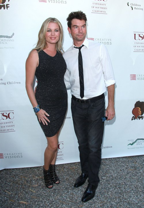 Rebecca Romijn, black dress, black tank dress, Jerry O'Connell, shirt, tie
