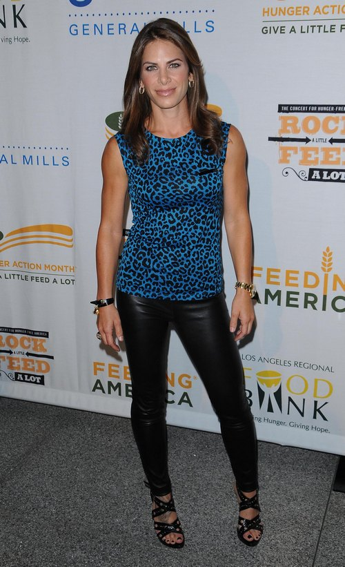 Jillian Michaels, leopard print blue top, black pants