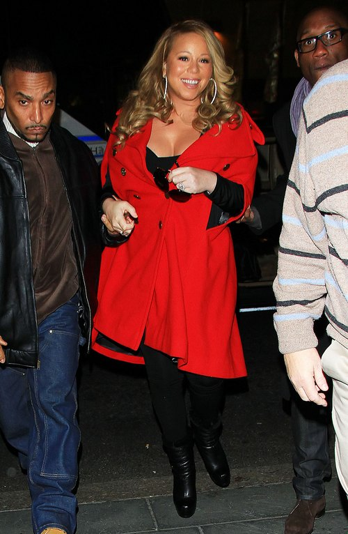 Mariah Carey, red jacket, black leggings, black boots