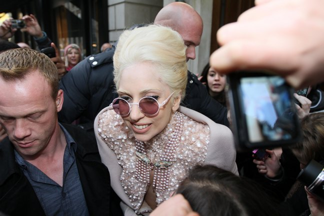 Lady Gaga, cream color vintage gown, round sunglasses, beaded gown, off white gown, champagne dress