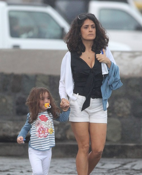 Salma Hayek, black tank top, white shorts, white shirt