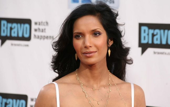 Padma Lakshmi white spaghetti strap dress