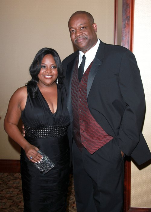Sherri Shepherd black dress, black sleeveless dress