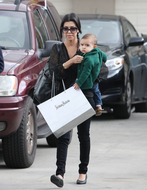 Kourtney Kardashian, black blouse, black jeans, sunglasses, ballet flats