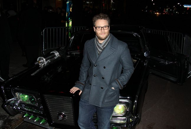 Seth Rogen dark gray suit