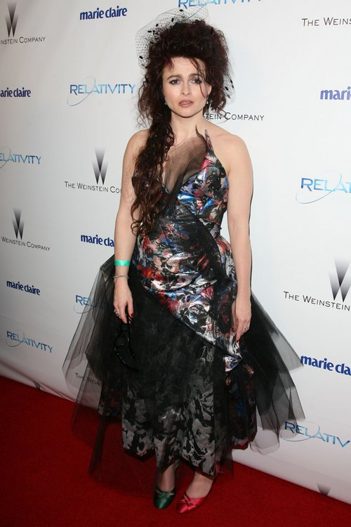 Helena Bonham Carter Vivienne Westwood Dress, mismatched shoes, golden globes, multicolor dress