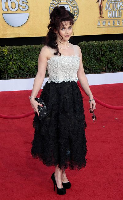 Helena Bonham Carter, black high heels, black and white gown, SAG awards dress
