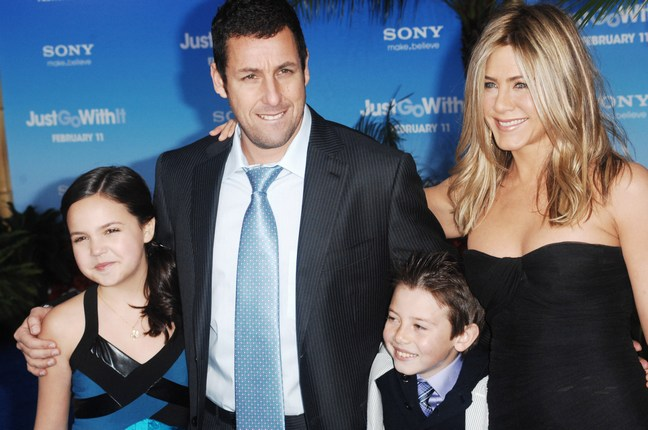 jennifer aniston, black dress, Adam Sandler suit