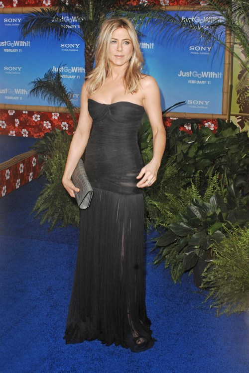 Jennifer Aniston black strapless dress, sheer black dress