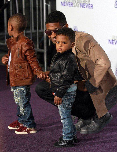 Usher, brown jacket, sunglasses