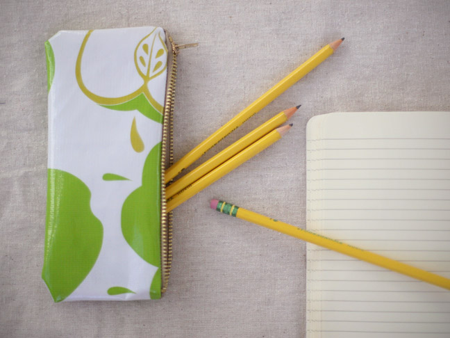 pencil case with green apples