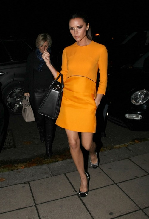 Victoria Beckham, orange dress,
