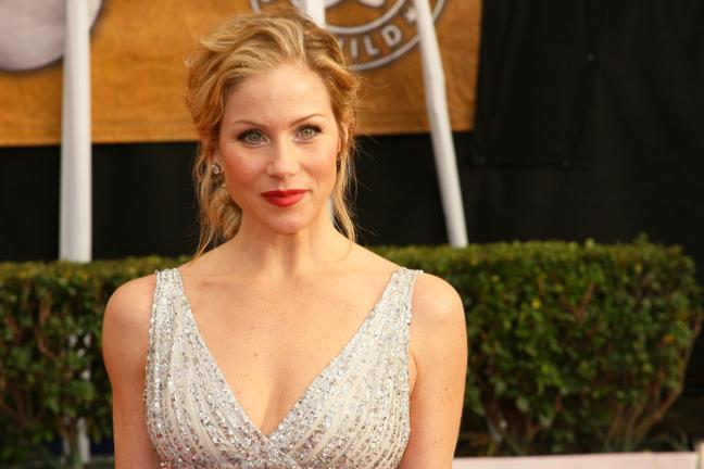 Christina Applegate, updo, sleeveless dress, silver dress,