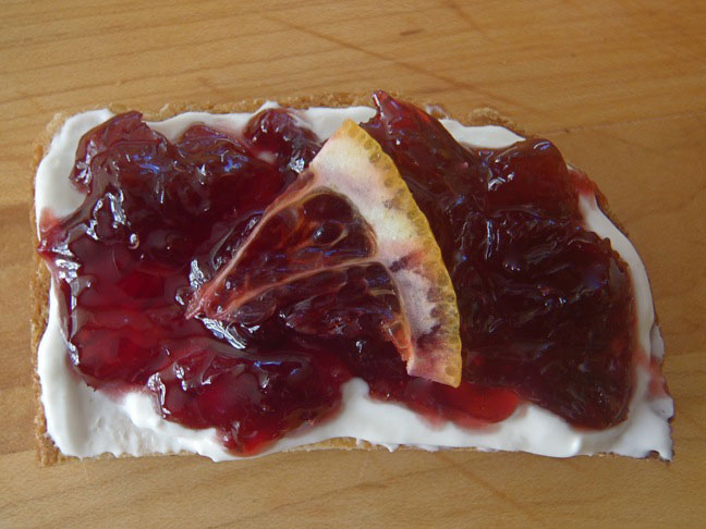 homemade blood orange preserves on a toast