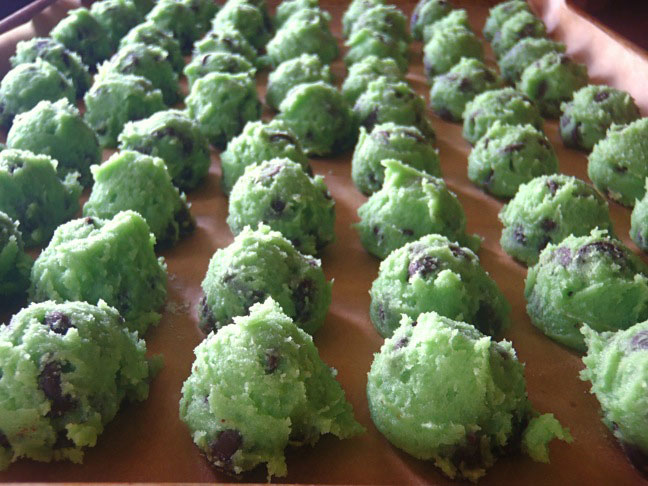 St. Patrick's Day green dyed chocolate chip cookie dough balls