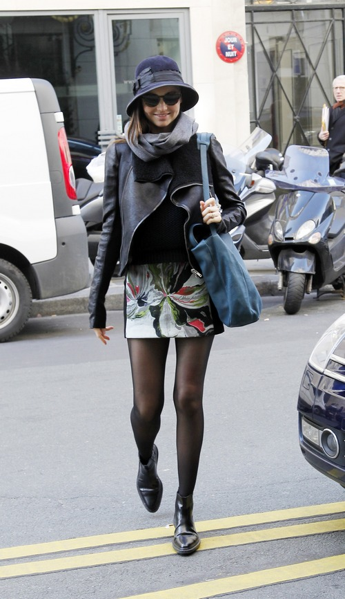 Miranda kerr, blue hat, scarf, floral skirt, black shoes, black leather jacket