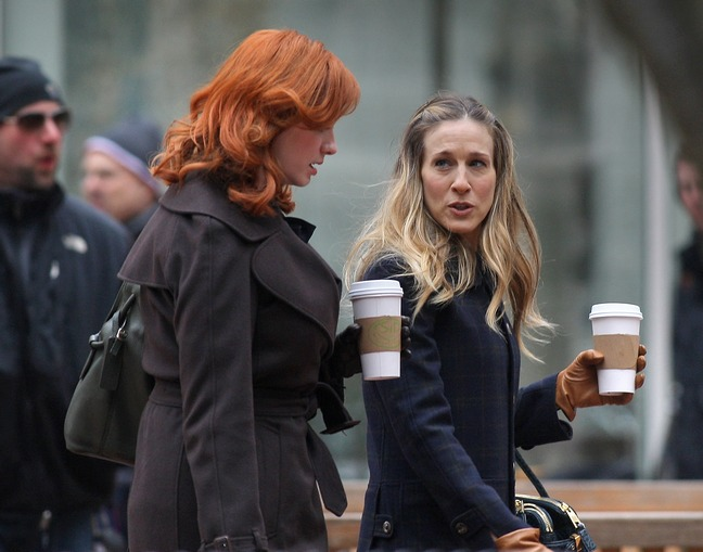Sarah Jessica Parker, wool coat, coffee