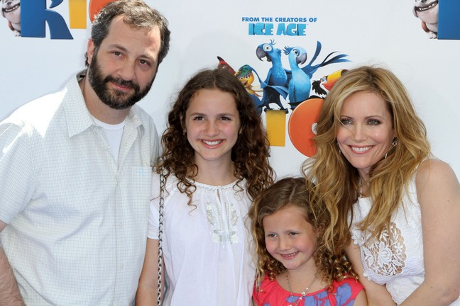 Leslie Mann, white dress, dolce and gabbana dress, judd apatow, white shirt, maude apatow, iris apatow