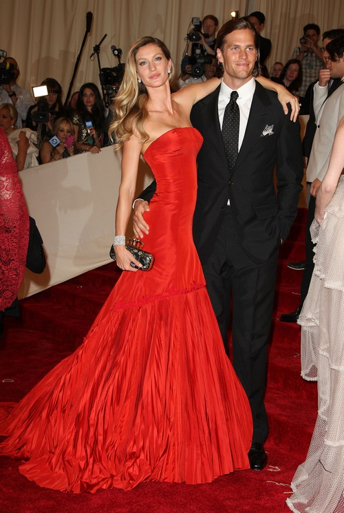 gisele bundchen red gown