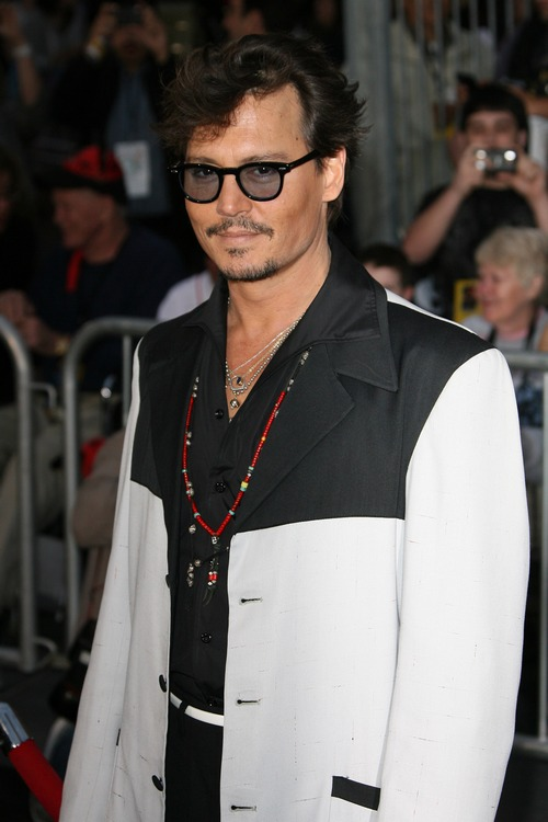 johnny depp, white and black jacket, red necklace