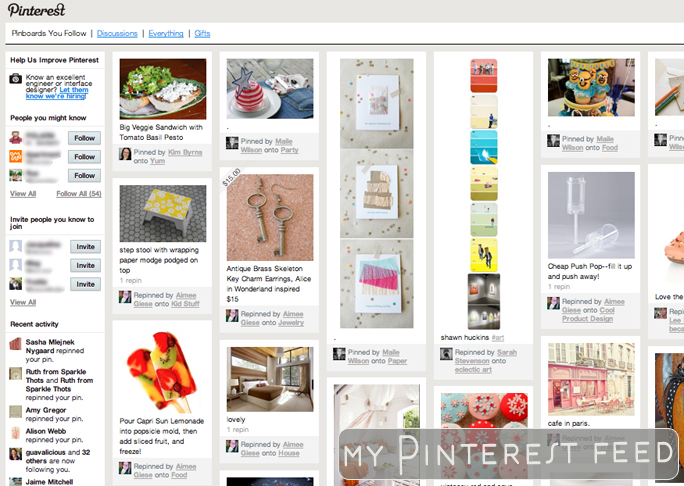 Screenshot of the Pinterest feed