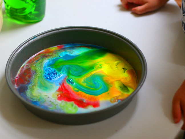 diy rainbow milk art