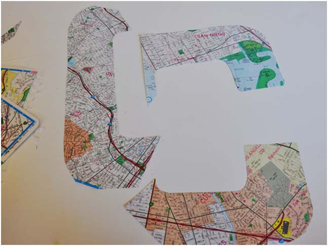 pieces of cut up map