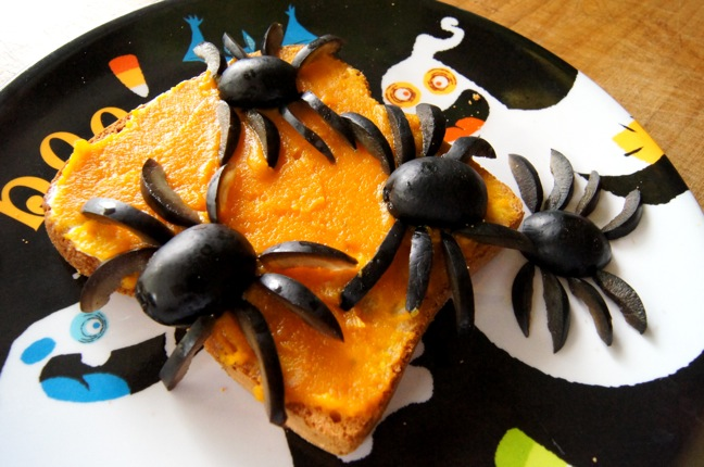 Halloween Snack Apple Pumpkin Buttered Bread With Olive