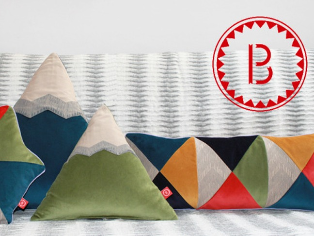 Prism and Mountain Pillows by Banderole