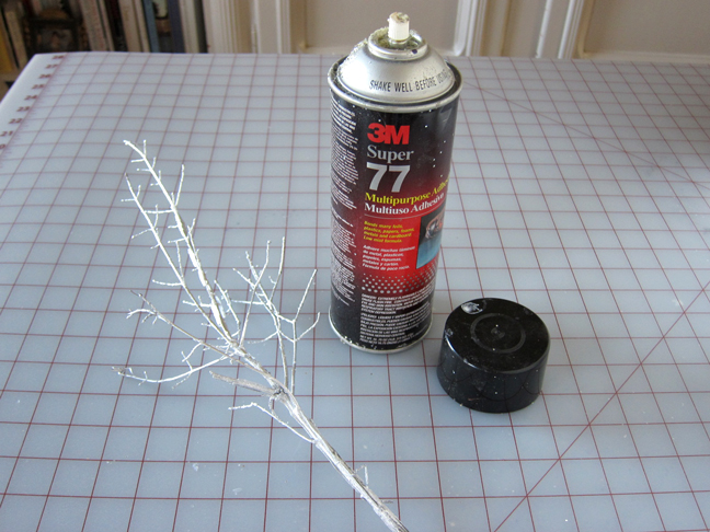 step 3 spray the branch with spray glue adhesive until it is. Black Bedroom Furniture Sets. Home Design Ideas