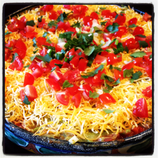 Mexican Layered Bean Dip ~ This is my all time favorite appetizer to ...