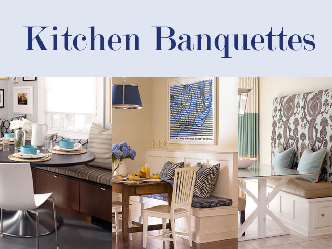 three different banquette seating ideas with modern and retro styling