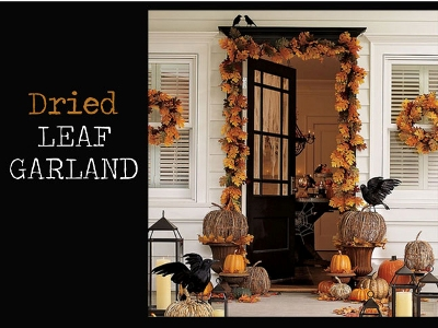 Fall Door Decor - Dried Leaf Garland