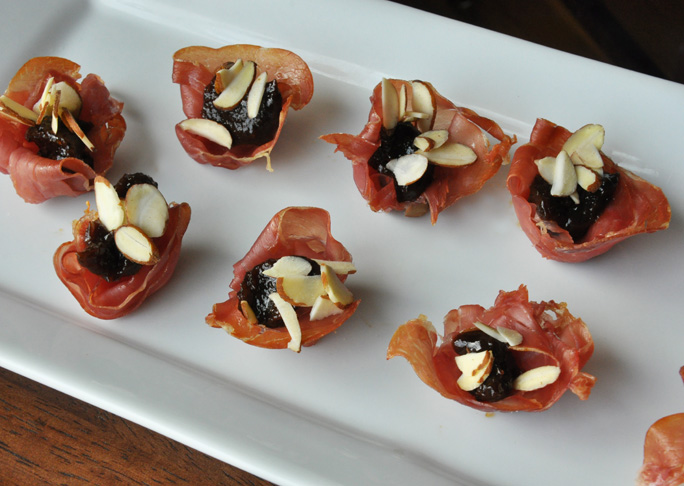 Fig Almond Proscuitto Cups Appetizer