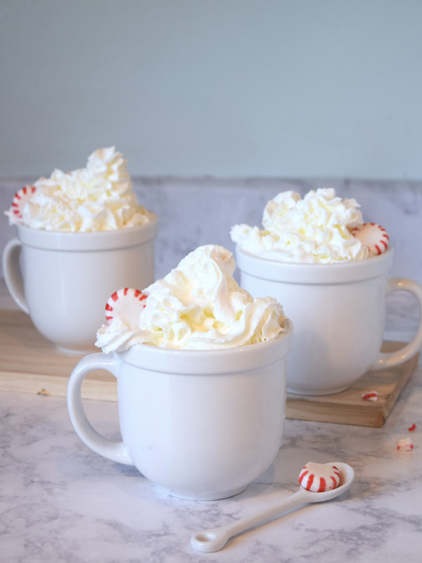 Peppermint Latte with whipped cream and candy